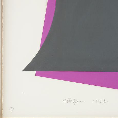 Richard mortensen, collage, signed and dated 6- v-91.