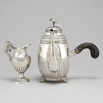 An empire silver coffee pot and a creamer, among others Hans Olof Hellbom Stockholm 1824.