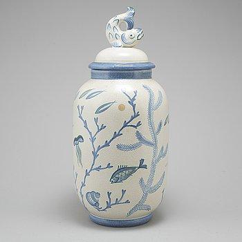 EVA JANCKE BJÖRK, a faiance urn, Bo Fajans 1940/50's.