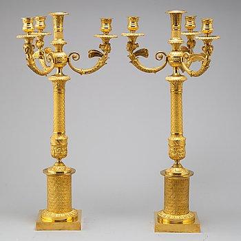 KANDELABRAR, ett par, Empire, tidigt 1800-tal.