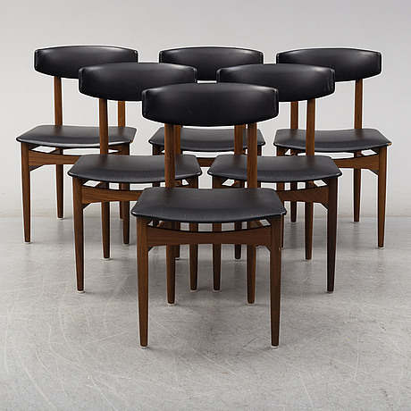 Six teak chairs, denmark, 1960's
