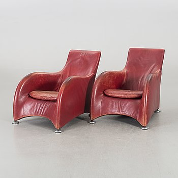 "A pair of 'Loge"" lazy chairs by Gerard van der Berg for Montis, Holland."