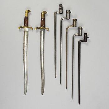 BAJONETTER 7 st, svenska, 1800-tal.