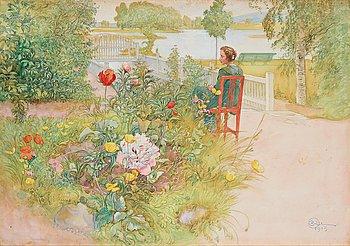 """379. Carl Larsson, """"Sommar i Sundborn"""" / """"Flicka i trädgård""""."""