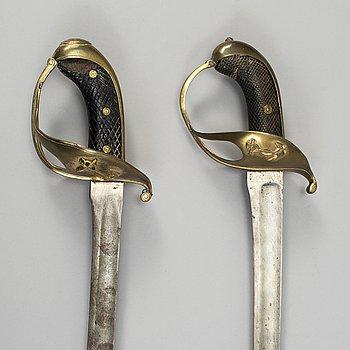 SABLAR, 2 st, 1800-talets mitt för sjöofficerare.