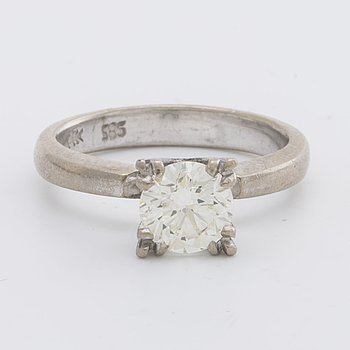 RING 14K whitegold 1 brilliant-cut diamond approx 1,20 ct approx I SI.