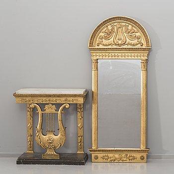 SPEGEL MED KONSOLBORD sengustaviansk signerad CPS (Carl Petter Sandberg, spegelmakare i Stockholm  1811-1818).