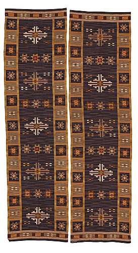 """Märta måås-fjetterström, drapes, 1 pair, flat weave, """"draperi med långbårder"""", ca 298,5 x 78,5 and 301,5 x 79 cm, one drape signed mmf."""