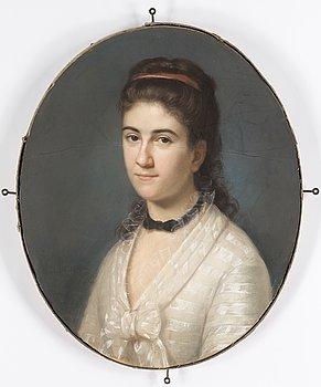 OKÄND KONSTNÄR, 1800-TAL. pastell/duk, otydligt signerad.