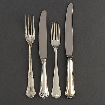 A Swedish 20th century 36 piece silver cutlery, mark of MEMA and CGH, 1950's-70's.