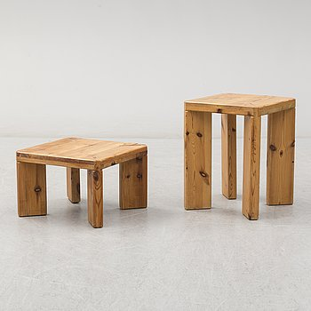 ROLAND WILHELMSSON, two pine side tables/stools, Ågesta, signed and dated 65 and 70.