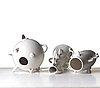 """Alessandro mendini, a set of three post modern white glazed """"dealbata"""" ceramic vases, zanotta, italy post 1987."""