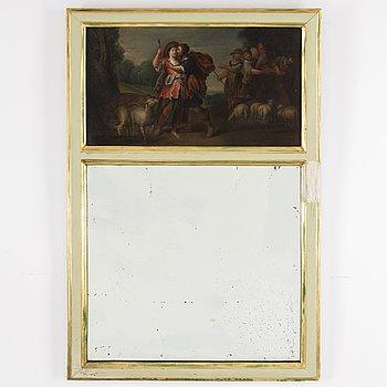 SPEGEL, omkring 1900 med oljemålning 17/1800-tal.