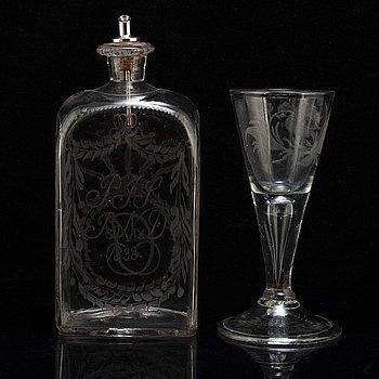 VINGLAS OCH BRÄNNVINSFLASKA, glas, 1700-tal och 1800-tal.