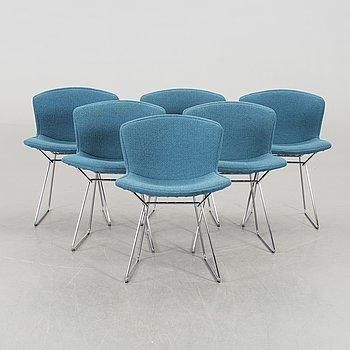 """HARRY BERTOIA, 6 st stolar, """"Side chair"""", Knoll international, märkta."""