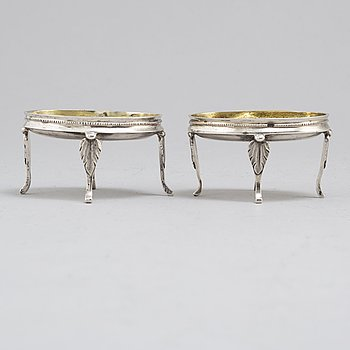 A pair of early 19th Century parcel-gilt salt cellars, probably from Graz, Austria.