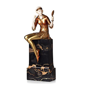 "288. Ferdinand Preiss, a ""Powder puff girl"" sculpture, France, Art Déco, 1920's-30's."