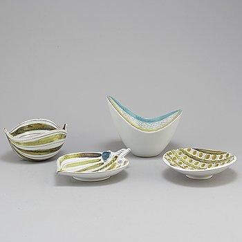 STIG LINDBERG, skålar, 2 st och skålfat, 2 st, fajans, Gustavsberg Studio.