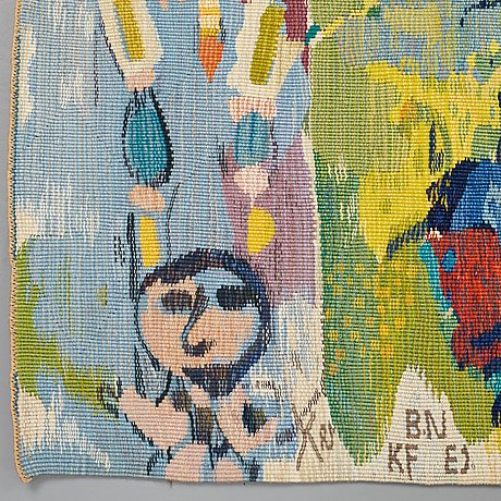 Sven x:et erixson, a tapestry, tapestry weave, after a cartoon by the swedish painter sven x:et erixson, translated into a weave by barbro.