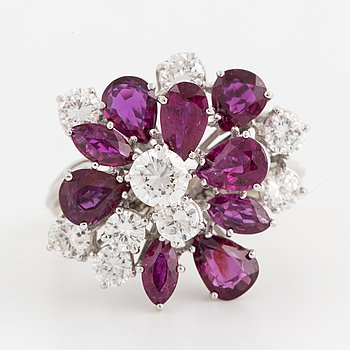 A ruby and brilliant-cut diamond cocktail ring.