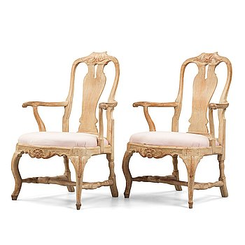 4. A pair of Swedish Rococo 18th century armchairs.