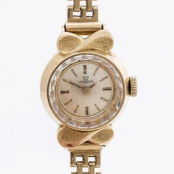 A 18 ct gold Lemania wrist watch, 20 mm.