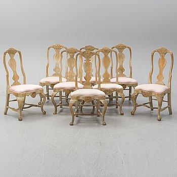 8 Swedish Rococo chairs, second half of the 18th century.