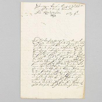 JONAS BLYBERG (1669-1709 Poltava) & ERIK DAHLBERGH (1625-1703), Egenhändigt 2 1/2 sidigt brev från Jonas Blyberg.