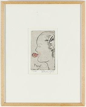HANS WIGERT, torrnål med akvarell, signerad och med dedikation, 1978.