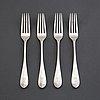 Four silver forks with von eckermann crest, mark of gustaf möllenborg, stockholm 1912.