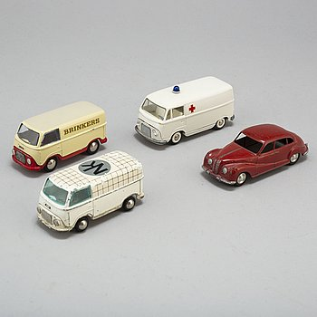a set of 4 tin toy cars Tekno & Märklin 1960's.