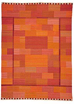 "201. Marianne Richter, A CARPET, ""Fasad, orange"", flat weave, ca 351,5 x 253,5 cm, signed AB MMF MR."