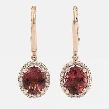 Tourmaline and diamond earrings.