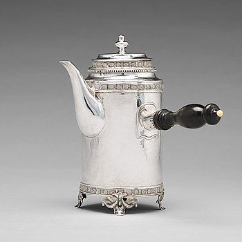 A Swedish 18th century silver coffee-pot, mark of Johan Stras, Stockholm 1783.
