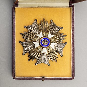 Order of the Crown, Belgium, Grand Officer Star, silver and enamel, in case, by De Greef, Brussels.