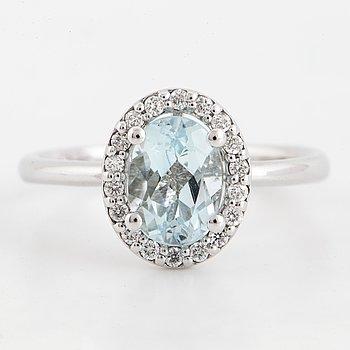 Aquamarine and brilliant-cut diamond ring.