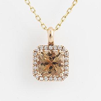 COLLIER, med turmalin och diamanter.