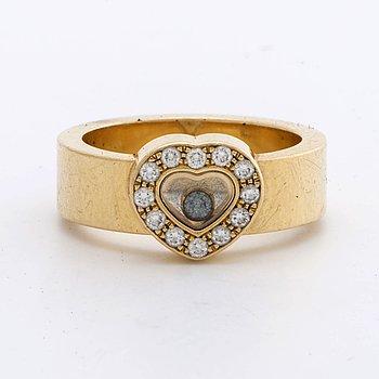 "CHOPARD RING, 18K gold, w brilliant-cut diamonds  approx 0,20 ct ""Happy diamonds""."