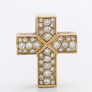 DIAMOND CROSS, pendant, 18K guld brilliant-cut diamonds approx 1,7 ct.