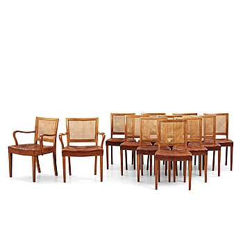 A set of 10+2 dining chairs, Denmark 1940's.