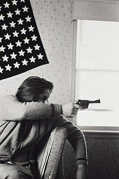 "243. Larry Clark, ""Untitled (man, flag, gun)"", 1971."