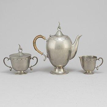 EDVIN OLLERS, kaffeservis, 3 delar, tenn, Art Déco, 1929.