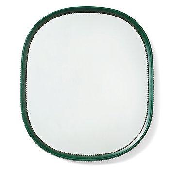 256. Otto Schulz, an artifical leather framed wall mirror, Boet, Gothenburg, Sweden 1940-50's.