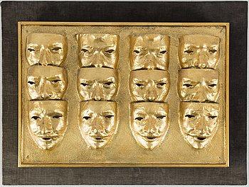 ALBERT JOHANSSON, Blandteknik, relief på pannå, signerad och daterad 1968 a tergo. Numrerad 7/18.