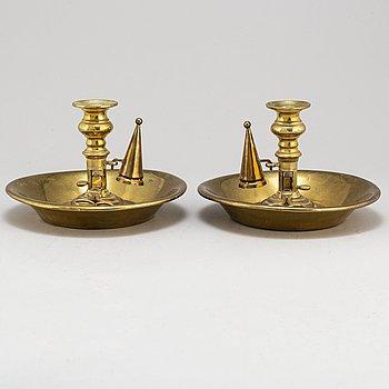 NATTLJUSSTAKAR, ett par, brons, 1800-tal.
