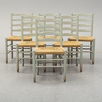 """KAARE KLINT, stolar, 6 st, """"Kirkestolen"""" Gemla, Diö. Etikettmärkta. 1900-talets andra hälft."""