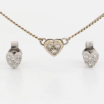 ÖRHÄNGEN, samt COLLIER, hjärtformat med diamanter.