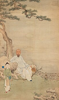 683. A hanging scroll, ink and color on silk, late Qing dynasty.