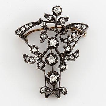 A brilliant and eight-cut diamond brooch.