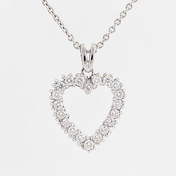 HÄNGE, med hjärtformat med briljantslipade diamanter totalt 0.72 ct.